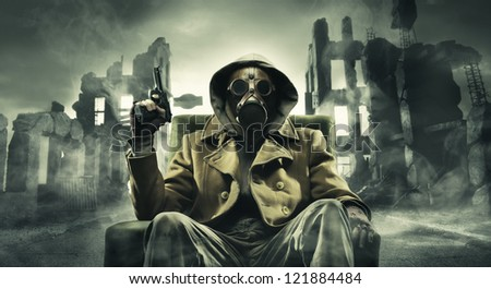 Post apocalyptic survivor in gas mask, destroyed city in the background
