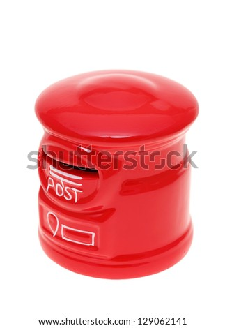 Post bank style money box isolated on a white studio background