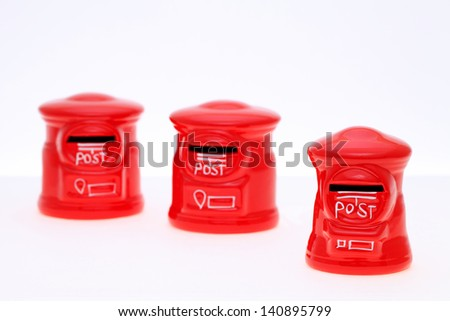Post bank style money box isolated on white background