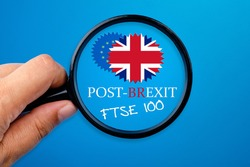 Post-Brexit issue focusing on FTSE 100, Brexit conceptual.