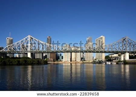 Post card image of Brisbane  Australia forground  Story Bridge