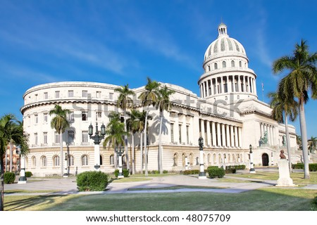 Post card shot of the Capitol building in Havana , Cuba