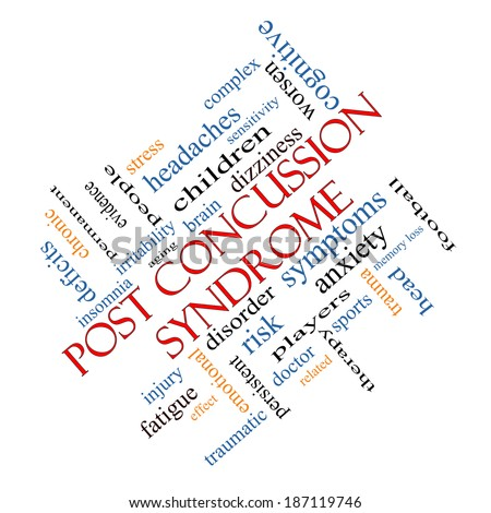 Post Concussion Syndrome Word Cloud Concept angled with great terms such as brain, injury, trauma and more.