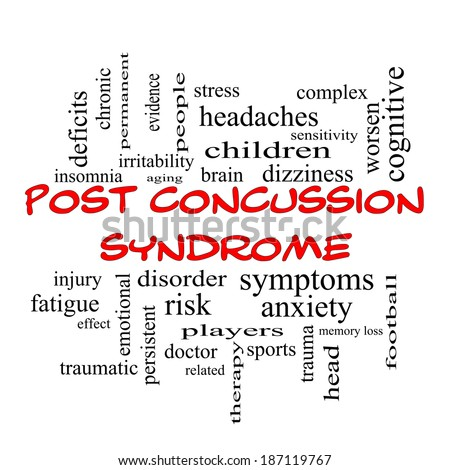 Post Concussion Syndrome Word Cloud Concept in red caps with great terms such as brain, injury, trauma and more.