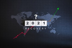 Post COVID-19 Global Economic Recovery and World Economy in 2021. Business, Financial, Industrial and Market Sector Comeback and Upturn. Up Arrow Stock Chart with World Map on the Black Background.