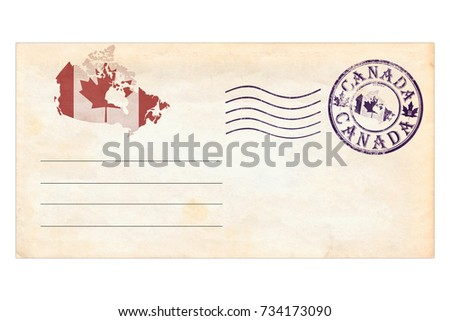 Post envelope with postage stamps and prints of Canada. Collage of Own photos and illustrations  #734173090