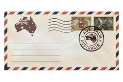 Post envelope with postage stamps of Australia and Australian continental and ocean fauna. Post envelope with Australia nature symbols. Vintage style. Isolated on a white background