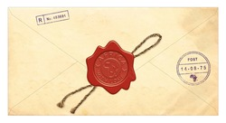 Post envelope with red seal isolated on a white background. Signs inside - words