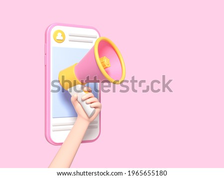 Post information alert from hand with мan megaphone or loudspeaker on a phone. Flat cartoon announce notification banner sign on a pink background. 3d render