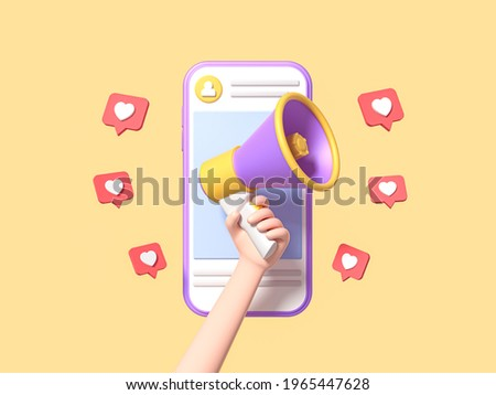 Post information alert from hand with megaphone or loudspeaker on a phone with pin like. Flat cartoon announce notification banner sign on a yellow background. 3d render