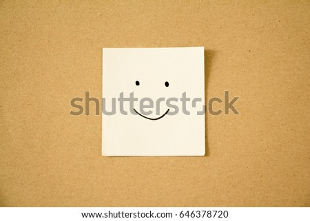 Post-it face smile mood on paper. #646378720