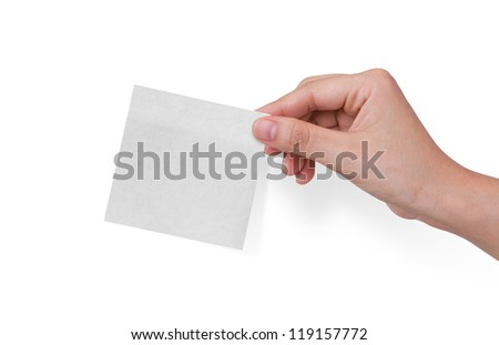 Post-it note with hand on white background