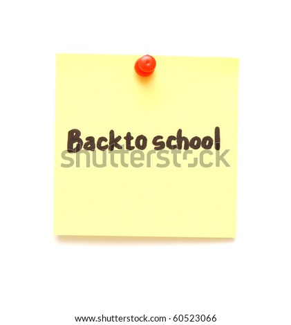 post it note with hand printed back to school isolated