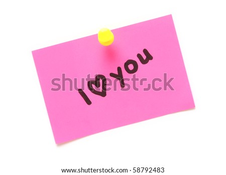 post-it note with handprinted i love you isolated
