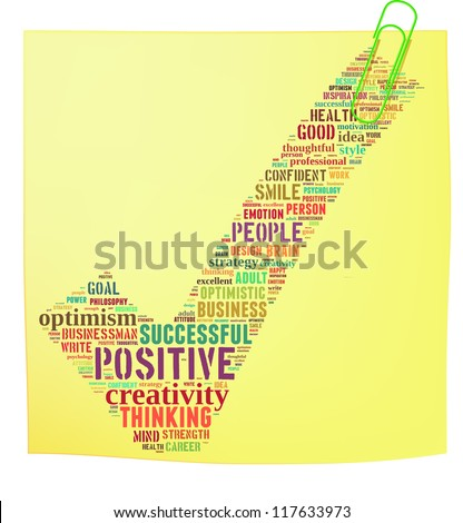 Post it noted with positive thinking info-text graphics and arrangement concept on white background (word cloud)