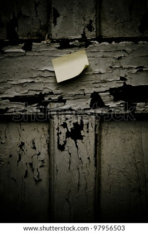 Post it on on rustic old weathered background. (vertical)