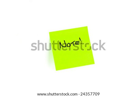 Post-it with the word NOTE! written on it.