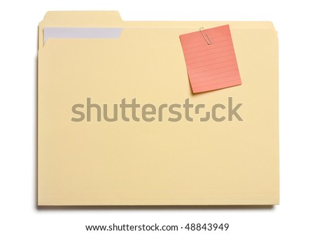 Post note clipped on a file folder isolated on white.