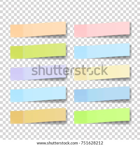 Post Note Sticker. Paper Sticky Tape With Shadow. Adhesive Office Paper Tape. Isolated Realistic Illustration