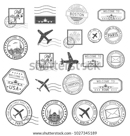 Post stamps. Set of black postmarks and travel Welcome stamps. Illustration isolated on white background. Raster version