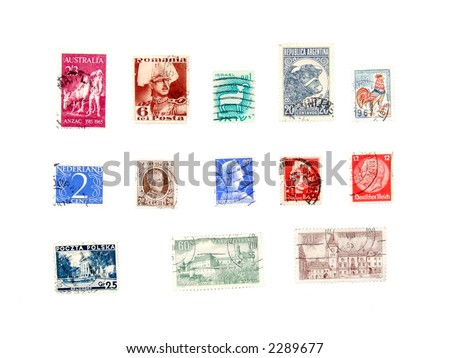 Postage stamps from various continents and countries: Netherlands, Belgium, Italy, Romania, Australia, Israel, Argentina, France, Czechoslovakia, Poland.