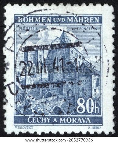Postage stamps of the Czechoslovakia. Stamp printed in the Czechoslovakia. Stamp printed by Czechoslovakia. Stockfoto ©