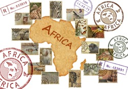 Postage stamps with Africa animals and nature symbols. Vintage style. Africa wild life protect concept. Isolated on a white background