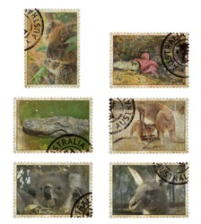 Postage stamps with Australia animals symbols. Vintage style. Isolated on a white background