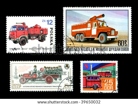 Postage Stamps with Fire Trucks