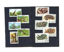 Postage stamps with images of snakes and birds issued in 1978, from different countries of Cuba and the USSR, are stored in a black velvet trunk. Stamps can be redeemed in different categories and pri