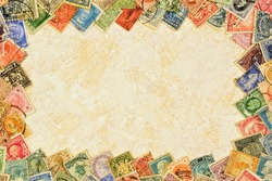 Postage vintage stamps - creative frame background of philately, collecting and studying the history of postage stamps. The systematized collection is of scientific, historical, and artistic interest.