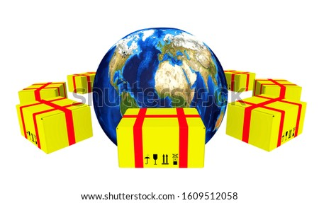 Postage worldwide. Many yellow postal parcels are located around the globe. Isolated. 3D Illustration
