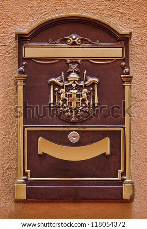 postal mail box old style in Monaco, Monte Carlo.