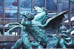 Postament with obelisc classic baroque sculpture with people and horse or pegasus made of old blue oxide bronze