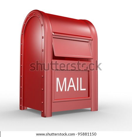 Postbox (mail box - letterbox) isolated on white background. 3d illustration
