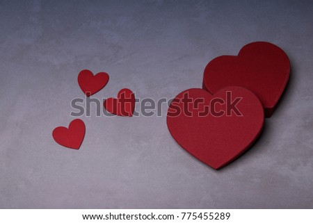 postcard for valentine day celebration with red hearts  #775455289