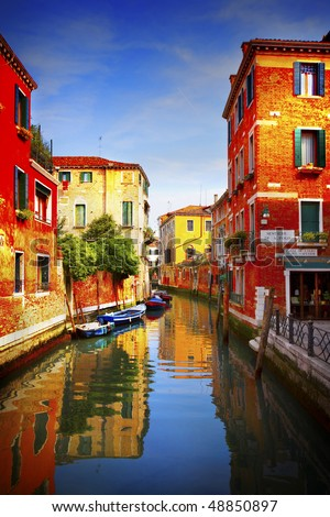 Postcard from Italy.Venice - Exquisite antique buildings along Canals. - stock photo