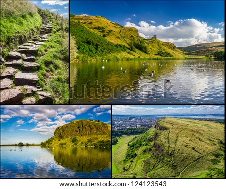 Postcard from the top of Arthur Seats in Edinburgh