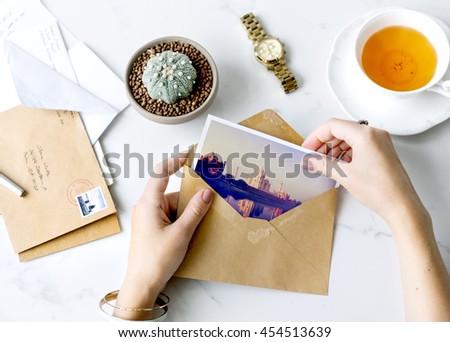 Postcard Letters Tea Desk Concept #454513639