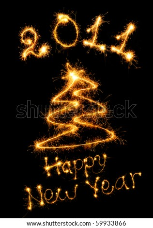 Postcard of a congratulation happy New Year. Bengal fires - stock photo