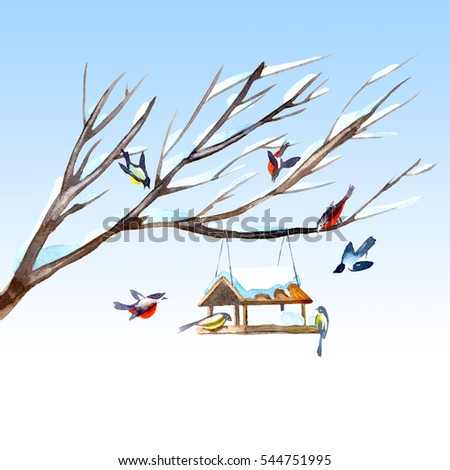 Toucan Postcard Of A Titmouse Bullfinch And Feeder On The TreeGreeting Card Stylized Birds