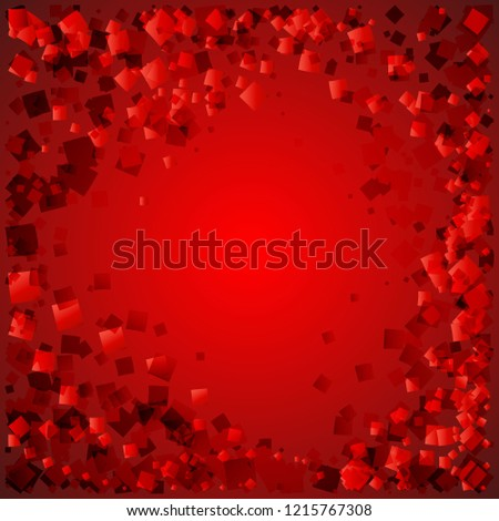 postcard of red diamonds on a bloody background with love. For paper or decoration of heartfelt parties.