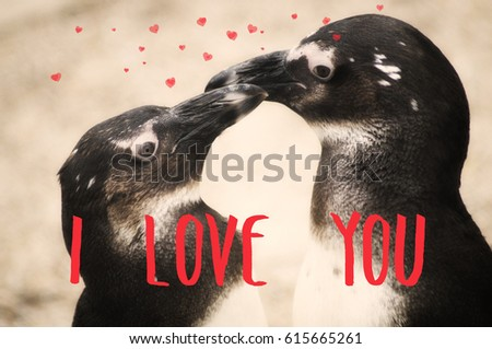 Postcard penguin love hearts #615665261