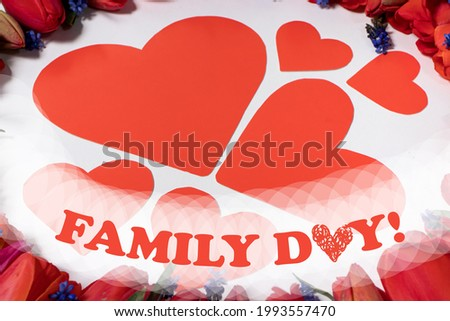 Postcard to the family day- a floral frame of tulips and a seed of hearts - mom, dad with a mustache and their children.