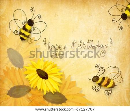 Открытки с днем рождения с пчелами