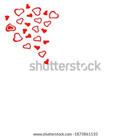 Postcard with red konfeti hearts on a white background. Stok fotoğraf ©