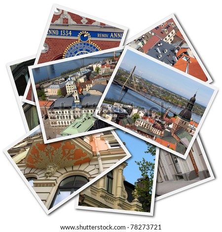 Postcards of Riga, Latvia, isolated on the white background