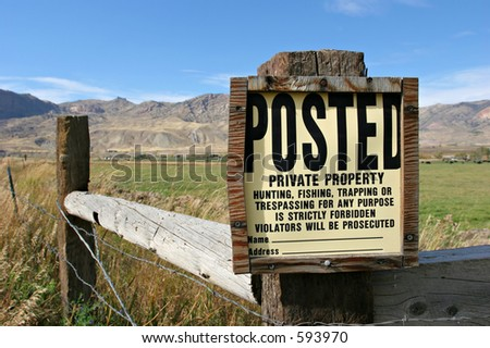 posted  private property sign in the countryside