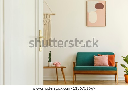 Poster above green couch with pillows in living room interior with plant on table. Real photo