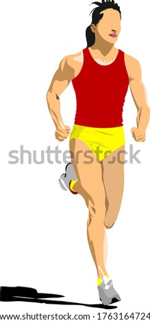 Poster Athletics. The running people. Sport. Running. Color illustration